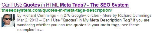 google meta tags quotes