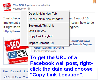 URL of Facebook Wall Post