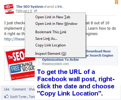 URL of Facebook Wall Post