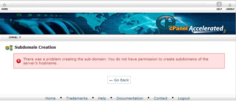 creating subdomains error