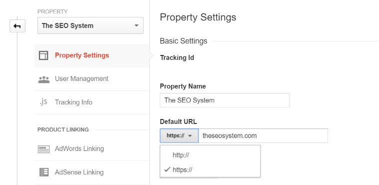 Change Google Analytics Default URL to HTTPS
