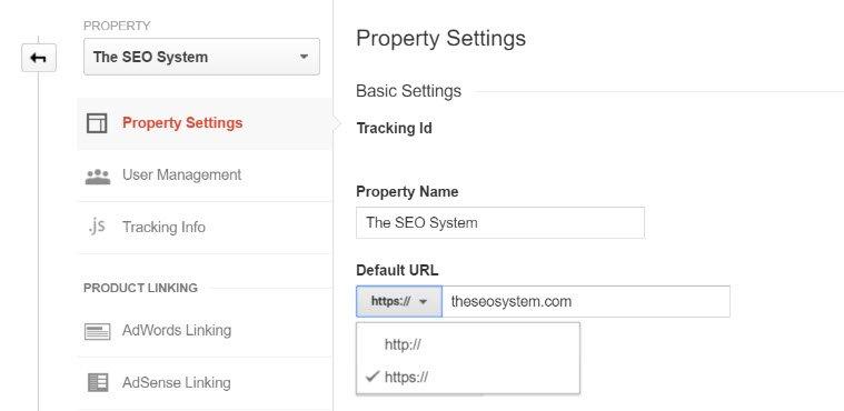 Change Google Analytics Default URL to HTTPS