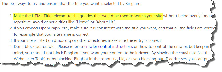 Bing Web Title Recommendations
