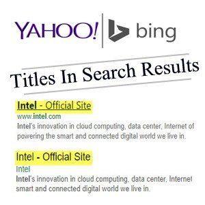 titles not showing on yahoo and bing