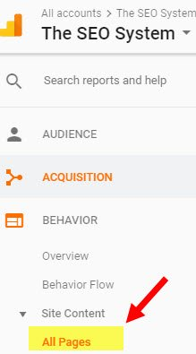 viewing page in Google Analytics